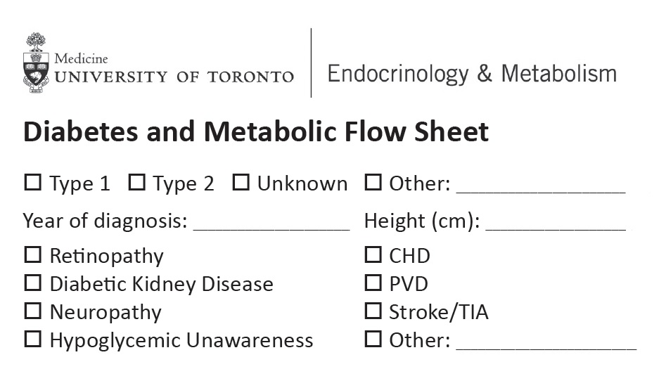 Diabetes and Metabolic Flow Sheet