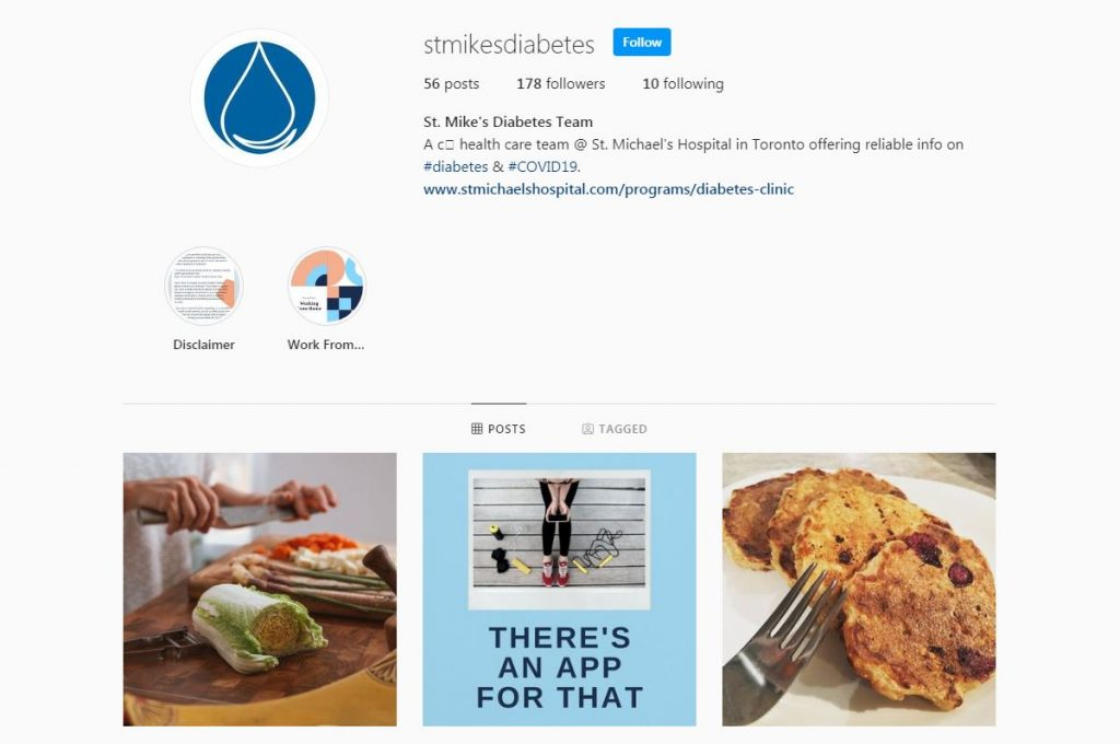 New diabetes Instagram account launched by St. Michael's Hospital.
